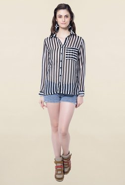 Hitch-Ki Black & White Striped Shirt