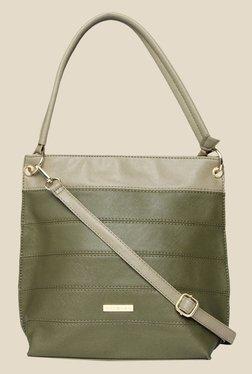 Addons Olive Striped Hobo Bag