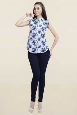 Zola White & Blue Floral Print Shirt