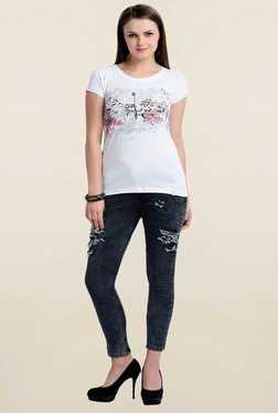 Zola White Floral Print T Shirt