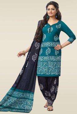 Salwar Studio Blue & Navy Blue Batik Printed Dress Material