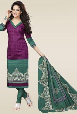 Salwar Studio Purple & Green Cotton Printed Dress Material