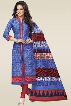 Salwar Studio Blue Cotton Floral Printed Dress Material