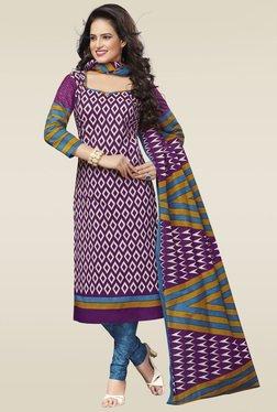 Salwar Studio Purple & Blue Cotton Printed Dress Material
