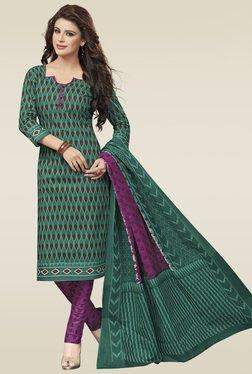 Salwar Studio Green & Purple Cotton Printed Dress Material