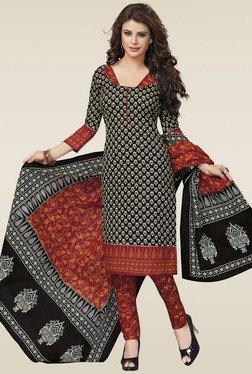 Salwar Studio Black & Red Cotton Dress Material
