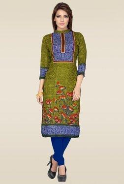 Salwar Studio Green & Blue Floral Printed Unstitched Kurti