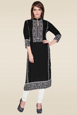 Salwar Studio Black & White Floral Printed Unstitched Kurti