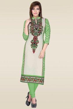 Salwar Studio Green & Cream Floral Printed Unstitched Kurti
