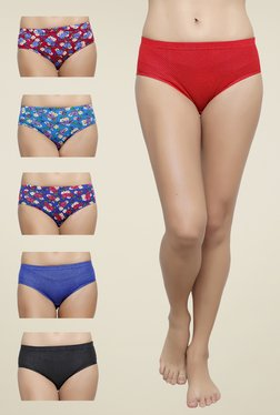 Softrose Red, Blue & Black Printed Panties (Pack Of 6)