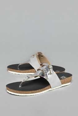 Head Over Heels by Westside Silver T Strap Sandals