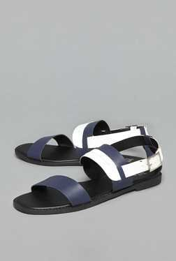 Head Over Heels by Westside Navy & White Back Strap Sandals