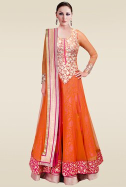 Ethnic Basket Orange Semi Stitched Anarkali Suit Set