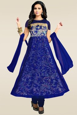 Ethnic Basket Blue Semi Stitched Anarkali Suit Set