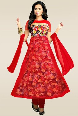 Ethnic Basket Red Semi Stitched Anarkali Suit Set