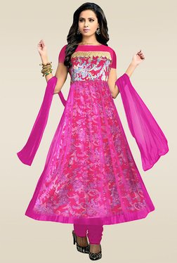 Ethnic Basket Pink Semi Stitched Anarkali Suit Set