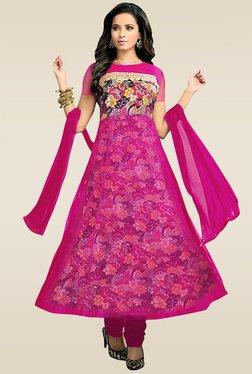 Ethnic Basket Pink Embroidered Anarkali Suit Set