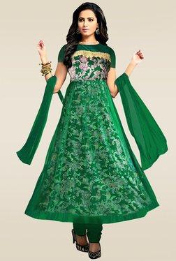 Ethnic Basket Green Embroidered Anarkali Suit Set