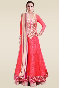 Ethnic Basket Peach Semi Stitched Anarkali Suit Set