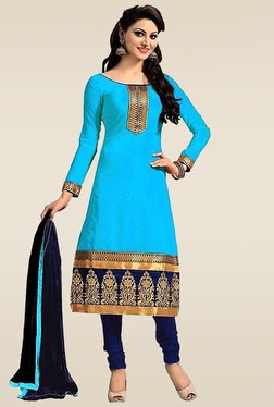 Ethnic Basket Sky Blue Semi Stitched Dress Material
