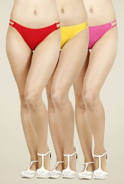 Softrose Red, Yellow & Pink Solid Panties (Pack Of 3)