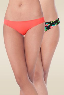 Prettysecrets Orange & Black Bikini Panties (Pack Of 2)