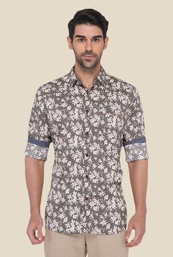 JadeBlue Grey Cotton Floral Printed Shirt