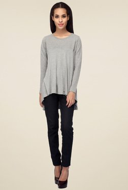Mineral Grey Regular Fit Full Sleeves Top