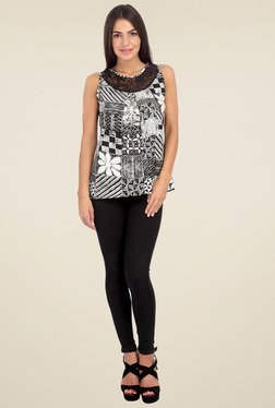 Mineral Black & White Round Neck Top