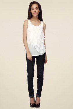 Mineral White Sleeveless Round Neck Top