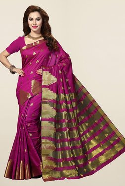 Ishin Purple Geometric Print Cotton Silk Saree