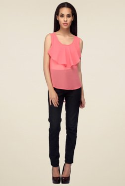 Mineral Pink Sleeveless Ruffle Top