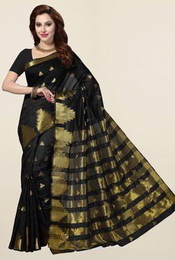 Ishin Black Geometric Print Cotton Silk Saree