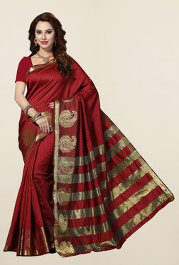 Ishin Maroon Printed Cotton Silk Saree
