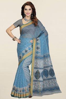 Ishin Blue Floral Print Half & Half Gadwal Cotton Saree