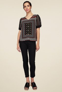 Mineral Black Printed Cap Sleeves Top