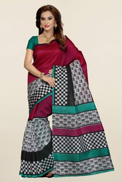Ishin Magenta & Off White Printed Bhagalpuri Silk Saree