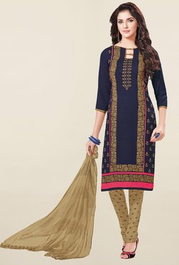 Ishin Navy & Beige Printed French Crepe Dress Material