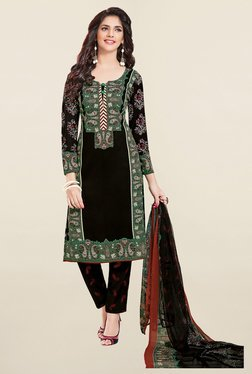 Ishin Black Paisley Print French Crepe Dress Material