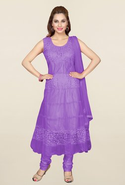 Ishin Purple Floral Print Net Dress Material