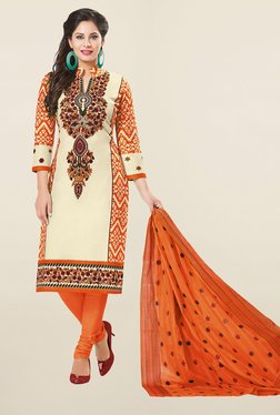 Ishin Beige & Orange Printed French Crepe Dress Material