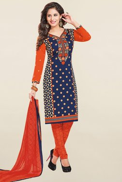 Ishin Navy & Orange Printed French Crepe Dress Material