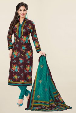 Ishin Brown & Teal Floral Print French Crepe Dress Material