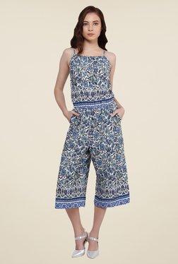Oxolloxo Blue Floral Print Jumpsuit