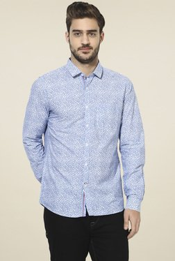 Turtle Blue Floral Print Slim Fit Shirt