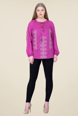 Oxolloxo Purple Embroidered Top