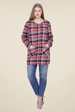 Oxolloxo Navy & Red Checks Jacket