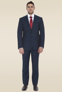 Park Avenue Dark Blue Notched Lapel Mid Rise Suit