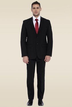 Park Avenue Black Mid Rise Full Sleeves Suit