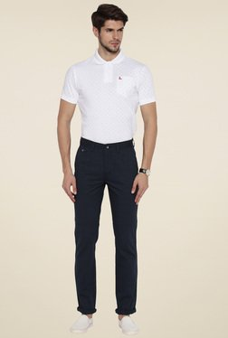 Parx Blue Cotton Slim Fit Trouser